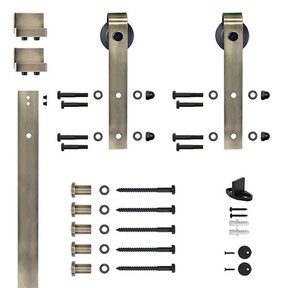 6.6 Ft. Soft-Close Antique Brass Hook Strap Rolling Door Hardware Kit for Wood Door