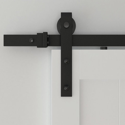 View a Larger Image of 6.6 Ft. Soft-Close Black Hook Strap Rolling Door Hardware Kit for Wood Door