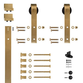 6.6 Ft. Soft-Close Satin Brass PVD Hook Strap Rolling Door Hardware Kit for Wood Door