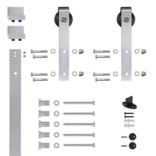 View a Larger Image of 6.6 Ft. Soft-Close Satin Nickel Hook Strap Rolling Door Hardware Kit for Wood Door