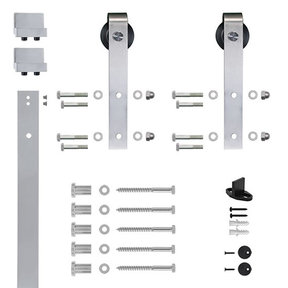 6.6 Ft. Soft-Close Satin Nickel Hook Strap Rolling Door Hardware Kit for Wood Door