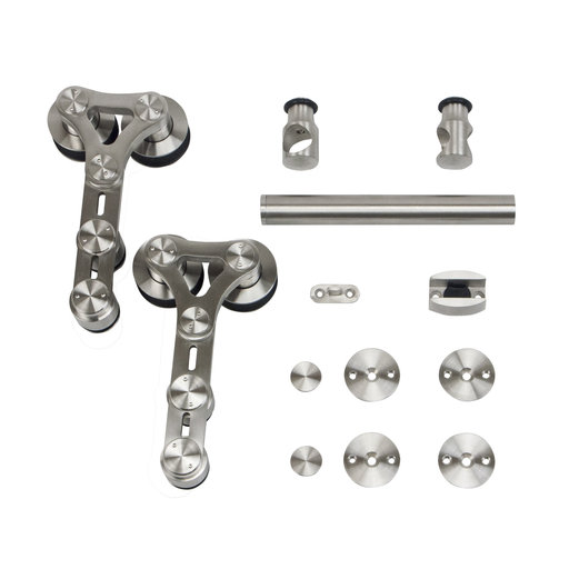 View a Larger Image of 6.6 Ft. Stainless Steel Dual Wheel Strap Rolling Door Hardware Kit for Wood or Glass Door