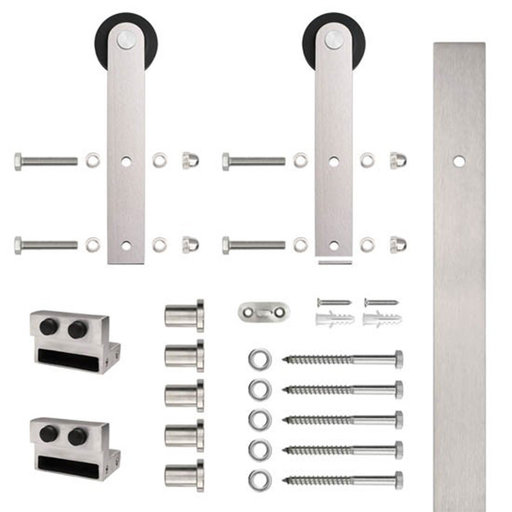 View a Larger Image of 6.6 Ft. Stainless Steel Flat Rail Stick Strap Rolling Door Hardware Kit for Wood Door