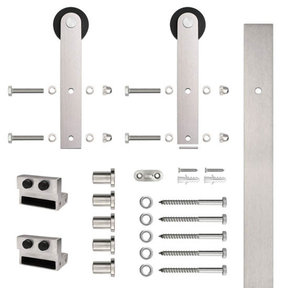 6.6 Ft. Stainless Steel Flat Rail Stick Strap Rolling Door Hardware Kit for Wood Door