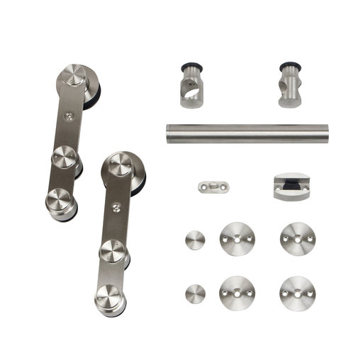 View a Larger Image of 6.6 Ft. Stainless Steel Strap Rolling Door Hardware Kit for Wood or Glass Door