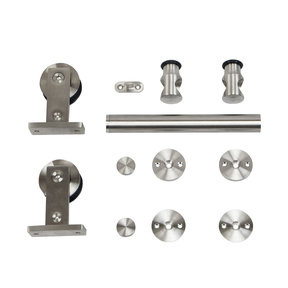 6.6 Ft. Stainless Steel Top Mount Rolling Door Hardware kit for Wood Doors