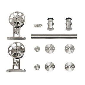 6.6 Ft. Stainless Steel Top Mount Spoke Wheel Rolling Door Hardware Kit for Wood Doors