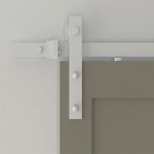 View a Larger Image of 6.6 Ft. White Hook Strap Rolling Door Hardware Kit for Wood Door