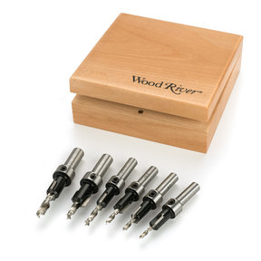 6-Piece Carbide-Tipped Countersink Set With Brad Point Pilots