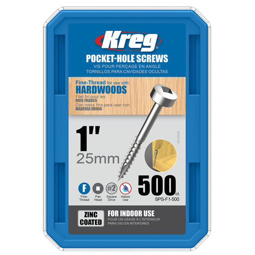 "View a Larger Image of 6 x 1"" Fine Pocket Hole Screw Pan-Head Zinc 500 pc"