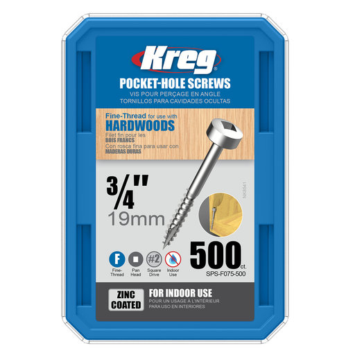 View a Larger Image of 6 x 3/4 Fine, Kreg Pocket Hole Screw, Pan-Head, Zinc, 500-Piece, SPS-F075-500