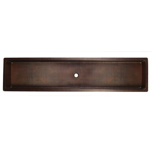 "View a Larger Image of 60"" Rectangle Under Counter Hammered Copper Bathroom Sink"