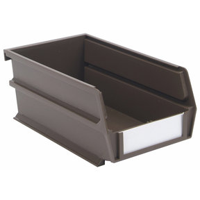 "7-3/8"" L x 4-1/8"" W x 3"" H Brown Stacking, Hanging, Interlocking Polypropylene Bins, 10 CT"