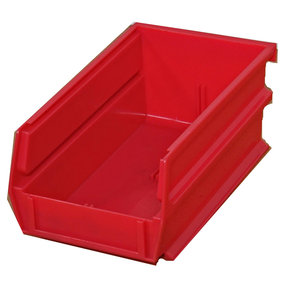 "7-3/8"" L x 4-1/8"" W x 3"" H Red Stacking, Hanging, Interlocking Polypropylene Bins, 6 CT"