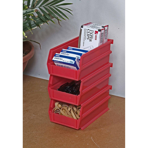 "View a Larger Image of 7-3/8"" L x 4-1/8"" W x 3"" H Red Stacking, Hanging, Interlocking Polypropylene Bins, 6 CT"