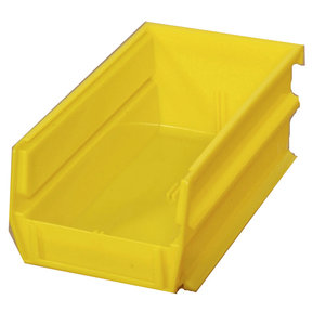 "7-3/8"" L x 4-1/8"" W x 3"" H Yellow Stacking, Hanging, Interlocking Polypropylene Bins, 6 CT"