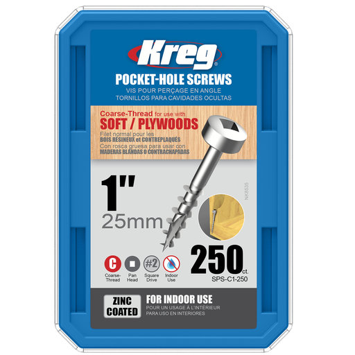 View a Larger Image of 7 x 1 Coarse Kreg Pocket Hole Screw Pan-Head Zinc 250-Piece SPS-C1-250
