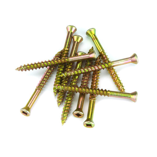 View a Larger Image of 7 x 2-1/4 Square Drive Woodworking Screws, Trim Head, Yellow Zinc, 100-Piece
