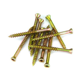 7 x 2-1/4 Square Drive Woodworking Screws, Trim Head, Yellow Zinc, 100-Piece