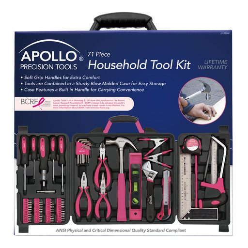 View a Larger Image of 71 Piece Household Tool Kit Pink