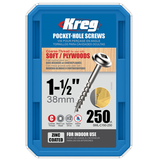 View a Larger Image of 8 x 1-1/2 Coarse Kreg Pocket Hole Screw Zinc 250-Piece SML-C150-250