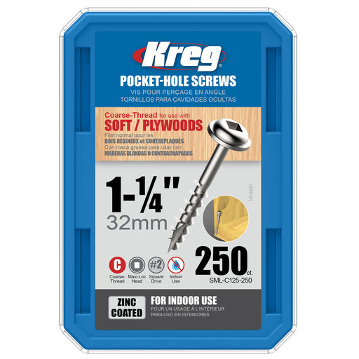 View a Larger Image of 8 x 1-1/4 Coarse Kreg Pocket Hole Screw Zinc 250-Piece SML-C125-250