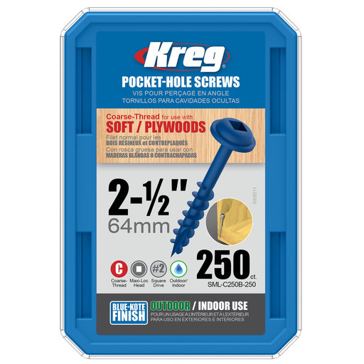 View a Larger Image of 8 x 2-1/2 Coarse, Kreg Pocket Hole Screw, Blue-kote, 250-Piece, SML-C250B-250
