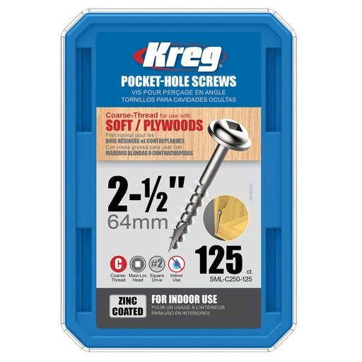 """View a Larger Image of 8 x 2-1/2"""" Coarse Pocket Hole Screw Zinc 125 pc"""