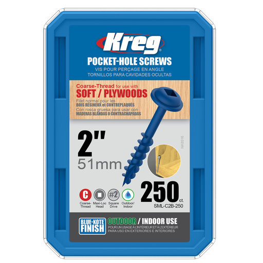 View a Larger Image of 8 x 2 Coarse, Kreg Pocket Hole Screw, Blue-kote, 250-Piece, SML-C2B-250