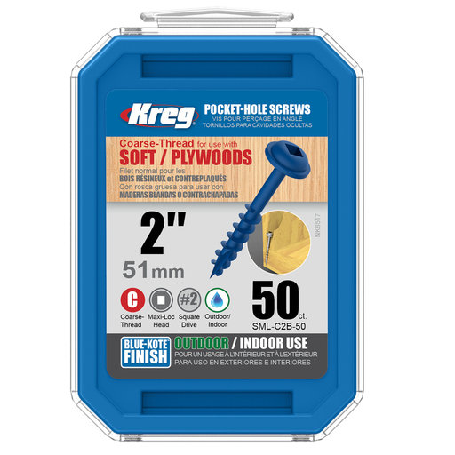 View a Larger Image of 8 x 2 Coarse, Kreg Pocket Hole Screw, Blue-kote, 50-Piece, SML-C2B-50
