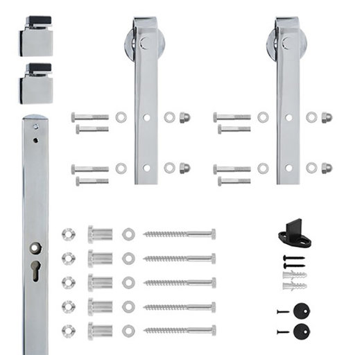 View a Larger Image of 96 in. Chrome Hook Strap Rolling Door Hardware Kit for Wood Door