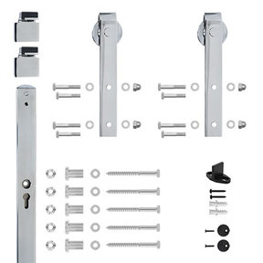 96 in. Chrome Hook Strap Rolling Door Hardware Kit for Wood Door