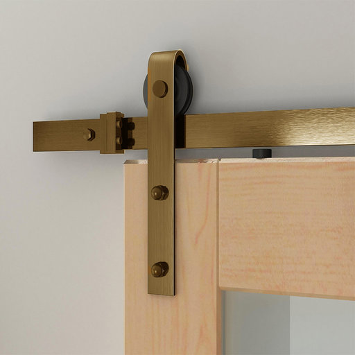 View a Larger Image of 96 in. Satin Brass PVD Hook Strap Rolling Door Hardware Kit for Wood Door