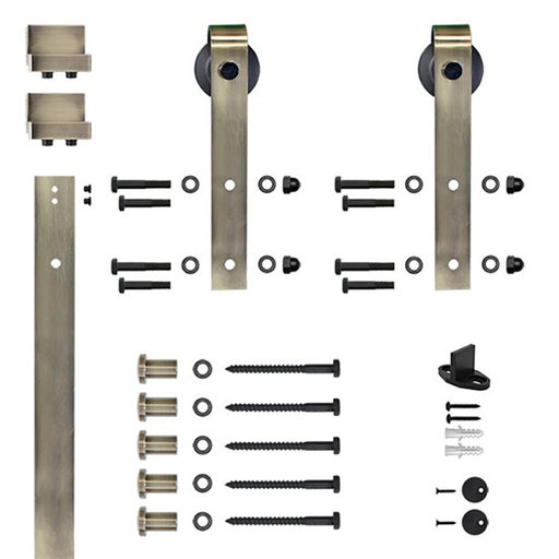 View a Larger Image of 96 in. Soft-Close Antique Brass Hook Strap Rolling Door Hardware Kit for Wood Door
