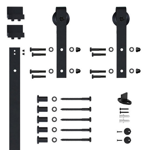 View a Larger Image of 96 in. Soft-Close Black Hook Strap Rolling Door Hardware Kit for Wood Door