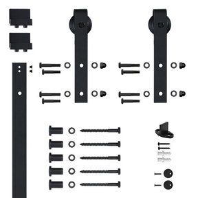 96 in. Soft-Close Black Hook Strap Rolling Door Hardware Kit for Wood Door
