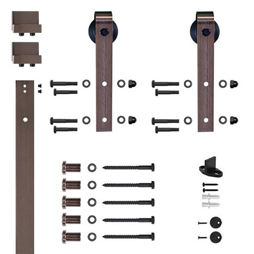 View a Larger Image of 96 in. Soft-Close Oil Rubbed Bronze Hook Strap Rolling Door Hardware Kit for Wood Door