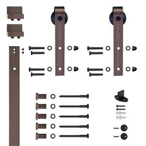 96 in. Soft-Close Oil Rubbed Bronze Hook Strap Rolling Door Hardware Kit for Wood Door