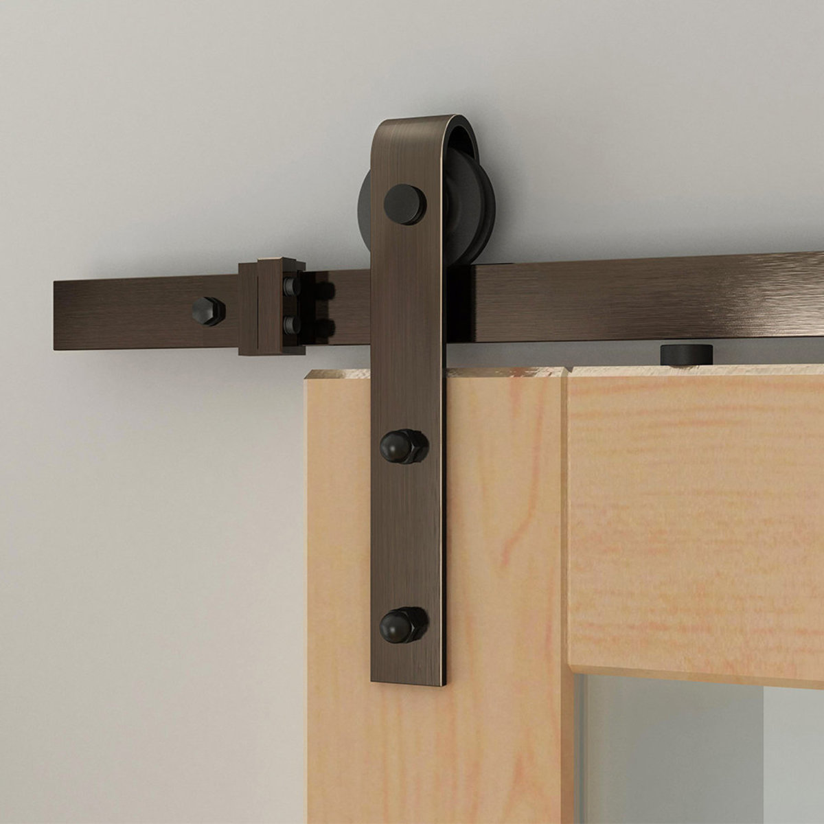 Picture of: Designer Collection 96 In Soft Close Oil Rubbed Bronze Hook Strap Rolling Door Hardware Kit For Wood Door