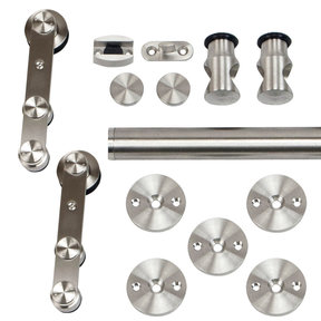 96 in. Stainless Steel Strap Rolling Door Hardware Kit for Wood or Glass Door