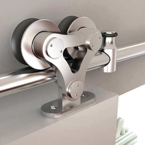 View a Larger Image of 96 in. Stainless Steel Top Mount Dual Wheel Rolling Door Hardware Kit for Wood Doors