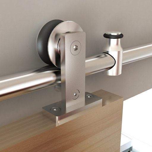 View a Larger Image of 96 in. Stainless Steel Top Mount Rolling Door Hardware kit for Wood Doors