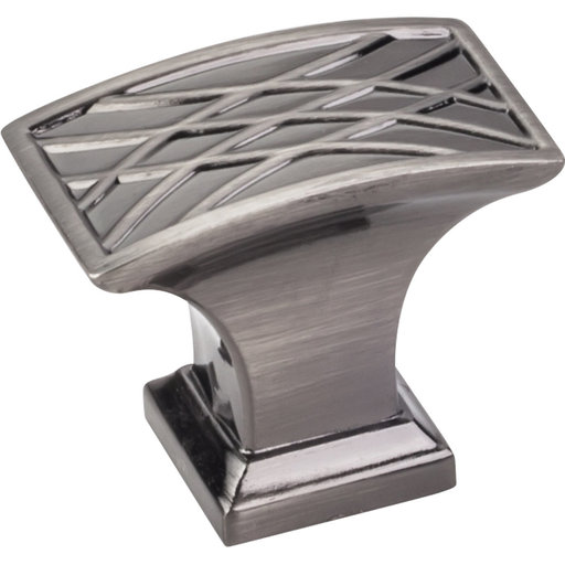 "View a Larger Image of Aberdeen Rectangle Lined Knob, 1-1/2"" O.L., Brushed Black Nickel"