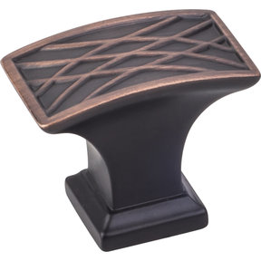 "Aberdeen Rectangle Lined Knob, 1-1/2"" O.L., Brushed Oil Rubbed Bronze"