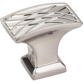 "Aberdeen Rectangle Lined Knob, 1-1/2"" O.L., Satin Nickel"