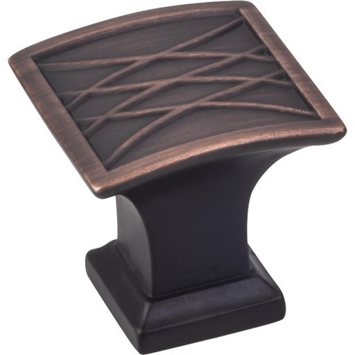 "View a Larger Image of Aberdeen Square Lined Knob, 1-1/4"" O.L., Brushed Oil Rubbed Bronze"
