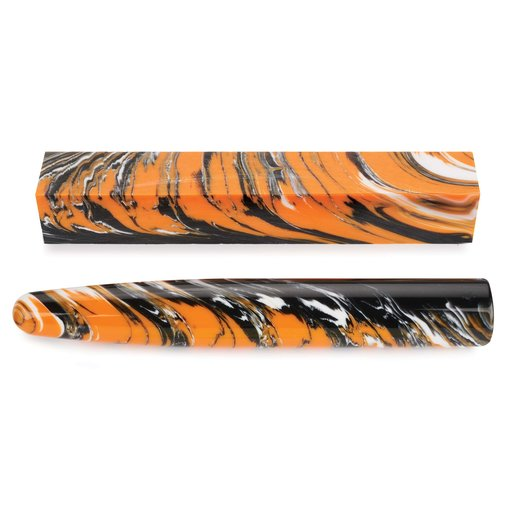 View a Larger Image of Acrylic Poly Resin Pen Blank - Angry Tiger