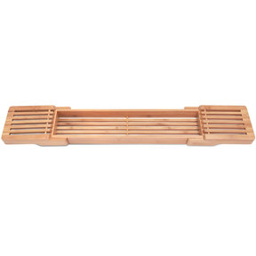 Adjustable 100% Natural Bamboo Wooden Bathtub Caddy with Extending Sides