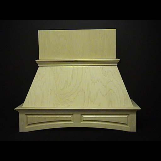"View a Larger Image of 36"" Arched Raised-Panel Island Hood, Red Oak"