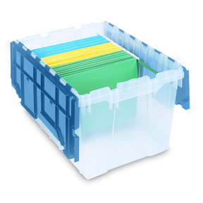 Akro-Mils 12 Gallon Attached Lid File Storage Box, Set of 6